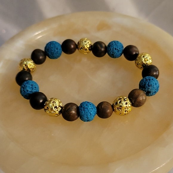 Rosewood and Lava Beaded Bracelet